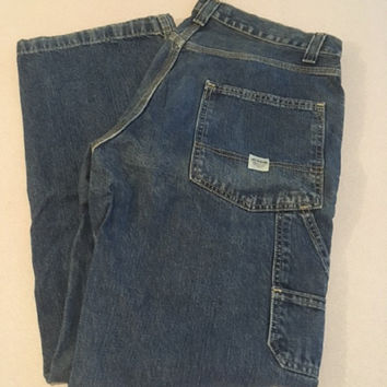 Men's Vintage Signature Levi's Workwear, 32 x 32 Darker Wash Carpenter Jeans 100% Cotton Made in Mexico Very Slight Fading No Tears or Frays