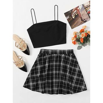 SHEIN Solid Crop Cami Top & Tartan Skirt Set