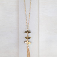 Gold Stone Ladder Necklace