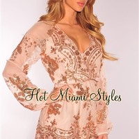 Rose Gold Sequins Long Sleeves Romper