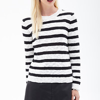FOREVER 21 Striped Knit Sweater Black/Cream