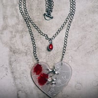 Ex Marks The Vampire Heart Necklace - Acrylic Laser Cut Broken Heart Statement Necklace