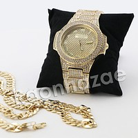 HIP HOP RAONHAZAE JEEZY GOLD FINISHED LAB DIAMOND WATCH CUBAN CHAIN SET SET2