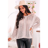 Next In Line Open Knit Sweater (Nude)
