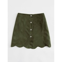 Scallop Hem Single Breasted Suede Skirt Green