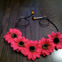 Pink Sunflower Headband, Flower Crown, Flower Halo, Festival Wear, EDC, Ultra Music Festival, Ezoo, Coachella