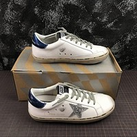 GGDB Golden Goose Uomo Donna Low Top Sneakers With Silver Star Blue Heel