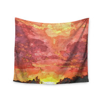 "Oriana Cordero ""Horizon"" Orange Sky Wall Tapestry"