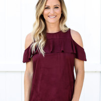 Wine About It Cold Shoulder Top