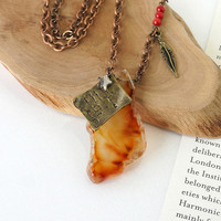 Translucent Carnelian Stone Slice with Paper and Feather Charm, Jasper and Coral Stone Beads, Story Music Inspired Jewelry