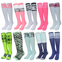 New Arrived Vs Pink  For Women Sock Kawaii Thigh High Socks Harajuku Candy Color Novelty Knee Sox Woman 587w