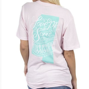 LOVE ME SOME MISSISSIPPI TEE (PINK)