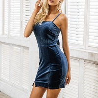 Sexy spaghetti straps women dress Backless velvet bow slim bodycon female mini dresses Party club ladies short vestidos