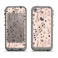 The Tan Music Note Pattern Apple iPhone 5c LifeProof Fre Case Skin Set