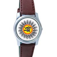Om Graphic Art Minimalist Illustration Wrist Watch