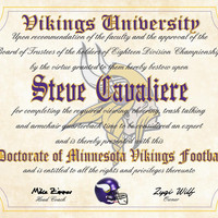 """Minnesota Vikings Ultimate Football Fan Personalized Diploma - Perfect Gift - 8.5"""" x 11"""" Parchment Paper"""