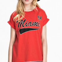 Red Striped Miami 94 Roll-up Baseball Shirt