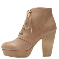 Nude Lace-Up Platform Chunky Heel Booties by Charlotte Russe