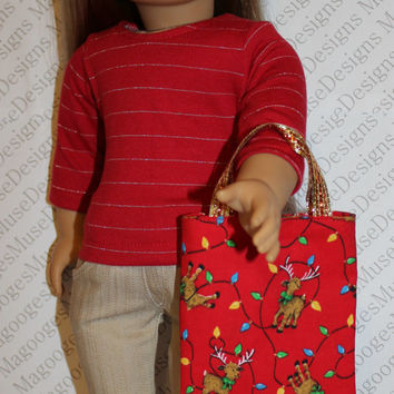 3  piece set, red shirt with silver stripe,  beige denim skinny jeans, Christmas doll tote, 18 inch doll clothes, American girl, Maplelea