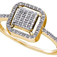 Round Diamond Ladies Fashion Ring in 10k Gold 0.15 ctw