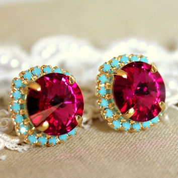 Crystal stud big pink earring - 14k plated gold post earrings real swarovski rhinestones .