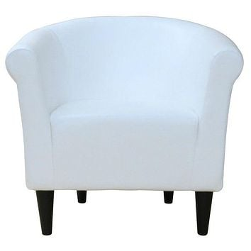 Modern Classic White Faux Leather Upholstered Club Chair - Made in USA