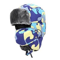 Free Shipping 2017 New Winter Kids Children Multicolor Butterfly Camo Camouflage Fur Trapper Hats With Masks For Boys Girls