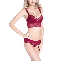 Sexy Lingerie Women Thin lace Underwear Push Up Side Support Bra Sets & Panty