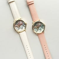 World Map Watch | Pink or Beige