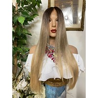 """ASH BLONDE OMBRÉ 24"""" straight layered melted Lace Front wig *Ready to wear+ *Fabulous *invisible hairline *natural looking *human hair blend"""
