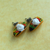 polymer clay taco stud earrings post earrings by ScrumptiousDoodle