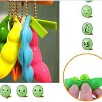 Extrusion Squeeze-a-Bean Soybean Stress Relieving Playful Charms Keychain for Mobile Keys (Random Color)