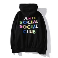 ANTI SOCIAL SOCIAL CLUB Long Sleeve Letters Couple Hooded Sweater Coat