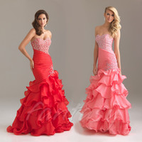 Red/Pink Beaded Mermaid Evening/Formal/Ballgown/Party/Prom Dress/SZ 4-14