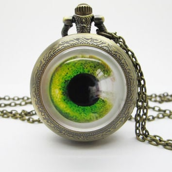 Vintage Glass Pocket Watch Necklace / Evil Eye Necklace  - Buy 3 Get 4th One Free PW018