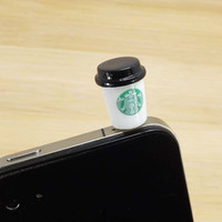 2 colors Cute Starbucks Milk Tea Cup Dust Plug 3.5mm Phone Dust Stopper Earphone Cap Headphone Jack Charm for iPhone 4 4S 5 HTC Samsung