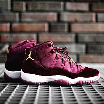 Air Jordan 11 Velvet Night Maroon Fashion New Hook Running Sports Leisure High Top Shoes Burgundy