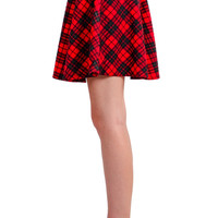 Plaid Quilted Skater Skirt