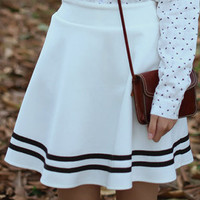 Preppy High-Waisted Striped Skirt