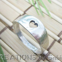 Sterling Silver Ring Band with Heart Cutout Vintage by CREATIONSbySabine