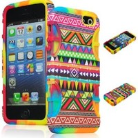 Bastex Heavy Duty Hybrid Case for iPhone 5, 5S, 5th Generation - Tie Dye Silicone / Colorful Chevron Tribal Aztec Hard Shell