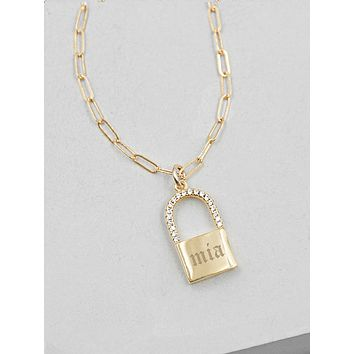 Sparkle Paperclip Padlock Necklace - Gold