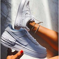 NIKE AIR FORCE 1 SHADOW Fashion Women Leisure Sport Running Shoes Sneakers Pure White