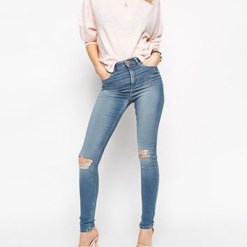 ASOS Ridley Jeans in Mia Mid Wash Blue with Rip and Destroy Busted Knees