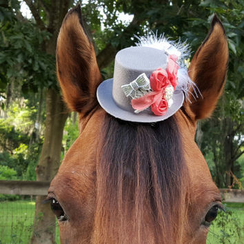 Silver Gray and Coral Victorian Fascinator / Mini Top Hat for Horse with Feathers and Flowers - Equine Tack Gothic Steampunk