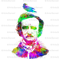 Poe Raven Rainbow Portrait - 13moons_design - Spoonflower