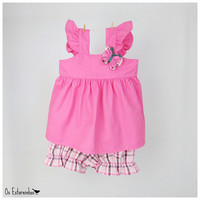 Baby girl Outfit - Pink Tunic, plaid fuxico butterfly and plaid shorts set