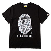 Bape Aape New fashion camouflage pattern letter print couple top t-shirt Black