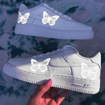 Air Force 1 Nike Low Silver butterfly Reflective casual Luminous cushioning shoes White
