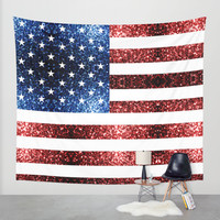 USA flag red & blue sparkles Wall Tapestry by PLdesign